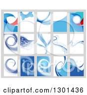 Clipart Of Abstract Blue Backgrounds On Gray Royalty Free Vector Illustration