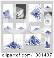 Clipart Of Abstract Blue Backgrounds On Gray 2 Royalty Free Vector Illustration