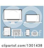 Clipart Of Modern Flat Design Gadgets And Devices On Blue Royalty Free Vector Illustration