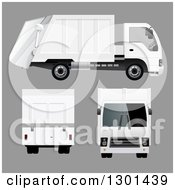 Clipart Of A 3d White Garbage Truck At Different Angles On Gray Royalty Free Vector Illustration