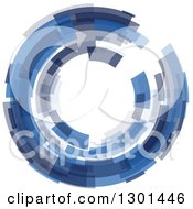Clipart Of A Blue Abstract Circle Or Tunnel Background Royalty Free Vector Illustration