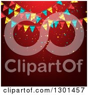 Clipart Of A Party Background With Colorful Bunting Flags And Confetti On Red Text Space Royalty Free Vector Illustration