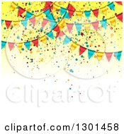 Clipart Of A Party Background With Colorful Bunting Flags And Confetti On Yellow And White Text Space Royalty Free Vector Illustration