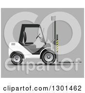 Clipart Of A 3d White Forklift Machine On Gray Royalty Free Vector Illustration by vectorace