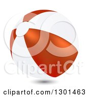 3d White And Red Beach Ball On White