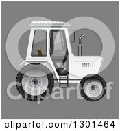 Clipart Of A 3d White Tractor On Gray Royalty Free Vector Illustration