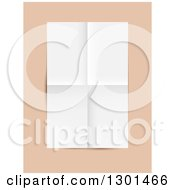 Clipart Of A 3d Blank Piece Of Paper With Folded Crease Lines Over Peach Royalty Free Vector Illustration by vectorace