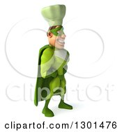 Clipart Of A 3d Green Caucasian Male Super Chef Facing Right Royalty Free Illustration