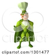 Clipart Of A 3d Green Caucasian Male Super Chef Giving A Thumb Up Royalty Free Illustration