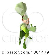 Clipart Of A 3d Green Caucasian Male Super Chef Facing Right And Holding A Thumb Up Royalty Free Illustration