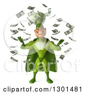 Clipart Of A 3d Green Caucasian Male Super Chef In Raining Money Royalty Free Illustration