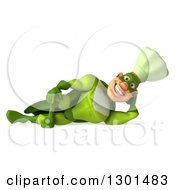 Clipart Of A 3d Green Caucasian Male Super Chef Resting On His Side Royalty Free Illustration