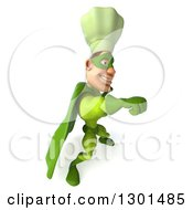 Clipart Of A 3d Green Caucasian Male Super Chef Facing Right And Punching Royalty Free Illustration