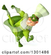 Clipart Of A 3d Green Caucasian Male Super Chef Kicking Royalty Free Illustration