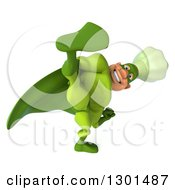 Clipart Of A 3d Green Caucasian Male Super Chef Kicking 2 Royalty Free Illustration