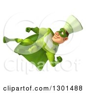 Clipart Of A 3d Green Caucasian Male Super Chef Kicking 3 Royalty Free Illustration