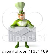 Clipart Of A 3d Green Caucasian Male Super Chef Holding A Giant Envelope Royalty Free Illustration