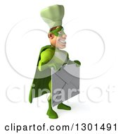Clipart Of A 3d Green Caucasian Male Super Chef Facing Right And Holding A Giant Envelope Royalty Free Illustration