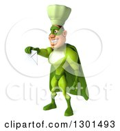 Clipart Of A 3d Green Caucasian Male Super Chef Facing Left And Holding Out An Envelope Royalty Free Illustration