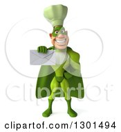Clipart Of A 3d Green Caucasian Male Super Chef Holding Out An Envelope Royalty Free Illustration