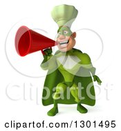 Clipart Of A 3d Green Caucasian Male Super Chef Announcing With A Megaphone Royalty Free Illustration