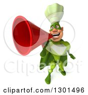 Clipart Of A 3d Green Caucasian Male Super Chef Announcing Upwards With A Megaphone Royalty Free Illustration