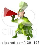 Clipart Of A 3d Green Caucasian Male Super Chef Announcing To The Left With A Megaphone Royalty Free Illustration