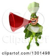 Clipart Of A 3d Green Caucasian Male Super Chef Announcing With A Bullhorn Megaphone Royalty Free Illustration