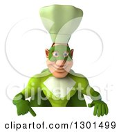 Clipart Of A 3d Green Caucasian Male Super Chef Pointing Down Over A Sign Royalty Free Illustration