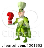 Clipart Of A 3d Green Caucasian Male Super Chef Facing Left And Holding A Question Mark Royalty Free Illustration