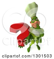 Clipart Of A 3d Green Caucasian Male Super Chef Thinking And Holding Up A Question Mark Royalty Free Illustration