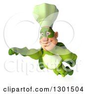 Clipart Of A 3d Green Caucasian Male Super Chef In Flight Royalty Free Illustration