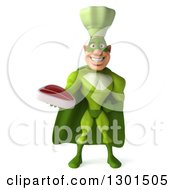 Clipart Of A 3d Green Caucasian Male Super Chef Holding A Beef Steak Royalty Free Illustration