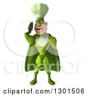 Clipart Of A 3d Green Caucasian Male Super Chef Talking On A Smart Cell Phone Royalty Free Illustration
