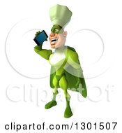 Clipart Of A 3d Green Caucasian Male Super Chef Facing Left And Talking On A Smart Cell Phone Royalty Free Illustration