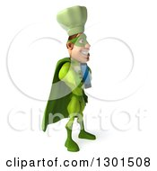 Clipart Of A 3d Green Caucasian Male Super Chef Facing Right And Holding Out A Smart Cell Phone Royalty Free Illustration