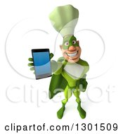 Clipart Of A 3d Green Caucasian Male Super Chef Holding Up A Smart Cell Phone Royalty Free Illustration