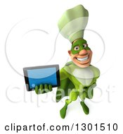 Clipart Of A 3d Green Caucasian Male Super Chef Holding Up A Tablet Computer Royalty Free Illustration