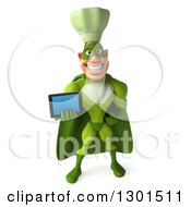 Clipart Of A 3d Green Caucasian Male Super Chef Holding Out A Tablet Computer Royalty Free Illustration