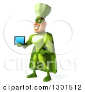 Clipart Of A 3d Green Caucasian Male Super Chef Facing Slightly Left And Holding Out A Tablet Computer Royalty Free Illustration