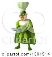 Clipart Of A 3d Green Caucasian Male Super Chef Facing Slightly Left And Using A Tablet Computer Royalty Free Illustration
