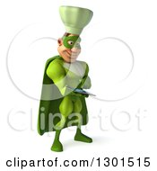 Clipart Of A 3d Green Caucasian Male Super Chef Facing Slightly Right And Using A Tablet Computer Royalty Free Illustration