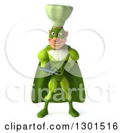 Clipart Of A 3d Green Caucasian Male Super Chef Using A Tablet Computer Royalty Free Illustration