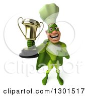 Clipart Of A 3d Green Caucasian Male Super Chef Holding Up And Pointing To A Trophy Royalty Free Illustration