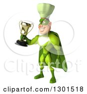 Clipart Of A 3d Green Caucasian Male Super Chef Facing Slightly Left And Holding Out A Trophy Royalty Free Illustration