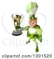 Clipart Of A 3d Green Caucasian Male Super Chef Facing Left And Holding Up A Trophy Royalty Free Illustration