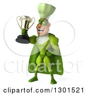 Clipart Of A 3d Green Caucasian Male Super Chef Proudly Holding A Gold Trophy Royalty Free Illustration