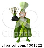 Clipart Of A 3d Green Caucasian Male Super Chef Proudly Holding A Trophy Royalty Free Illustration