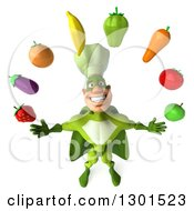 Clipart Of A 3d Green Caucasian Male Super Chef Looking Up And Juggling Produce Royalty Free Illustration