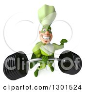 Clipart Of A 3d Green Caucasian Male Super Chef Lifting A Heavy Barbell One Handed Royalty Free Illustration